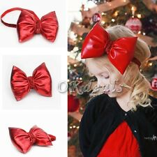 Kids Girls Baby Toddler Infant Bowknot Headband Hair Red Bow Band Xmas Gifts