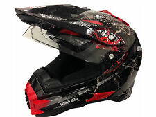 MOTO CROSS QUAD ATV CASCO Nikko Road Pirate-DOPPIA VISIERA-TAGLIA S-LUCIDO