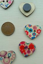 8 X HEART SHAPED WOODEN MAGNETS FLOWERS SHABBY CHIC SET 2 - FRIDGE NOTICE BOARD