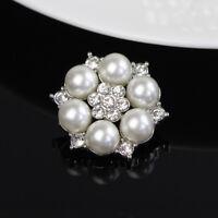 Fünf Stück Klare Strass Silber Perlen Blumen Knopf Shank Verzierung