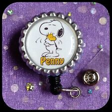 SNOOPY WOODSTOCK PERSONALIZED Name Bottle Cap ID Badge Holder Lanyard Work Clip