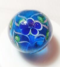 "HANDMADE GLASS MARBLE FLORALS ""PAEONY AQUA AND BLUE""  22mm SHOOTER"