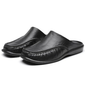 Men's Leather Slippers Slip On Shoes Mules Scuff Beach Moccasin Slouch