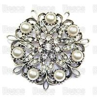 PEARL FILIGREE ROUND BROOCH vintage silver fashion RHINESTONE crystal UK GIFT