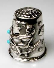 Fingerhut thimble Silber Engelchen mit Schmetterling Glassteine