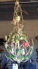 VINTAGE METAL FLORAL TOLE FLORAL SWAG SHABBY HANGING CHIC LIGHT LAMP