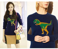 Street Fashion Women Dinosaur Motif Softly Wool Blend Pullover Sweater Bloggers