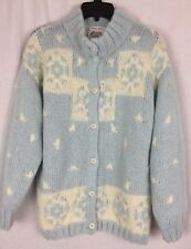 Handknit Villager Cardigan Sweater Blue White Chunky Wool Blend Petite Small