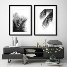 Set of 2 ART PRINTS Black PALM FERN Leaves PERFECT PAIR decor poster picture