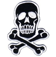 Skull and Crossbones Applique Patch - White and Black (Iron on)