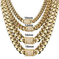 Mens Stainless Steel Cuban Chain Luxury Hip Hop Men Necklace Cubic Zircon Clasp