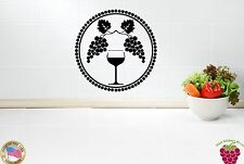Wall Stickers Vinyl Decal For Kitchen Glass of Wine Grape Vine ig923