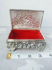 Vintage Silver Trinket Jewelry Box, Red Velvet Liner, Japan, Roses, Flowers.