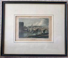 Antique 1814 Engraved Colour Print; Bewdley Bridge, Worcs  J.P. Neale. Stately ?