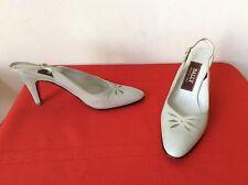Bally. Italy, Womens  Gray  Leather Low Heels Slingbacks 7AAA Shoes (b9)