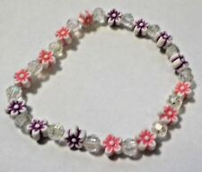 Vintage Purple, Pink & White Flower Beads & Clear Beads Stretch Bracelet