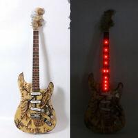 Custom LED Light  Electric Guitar Ash Body+Flame maple Neck SSS pickup Nice tone