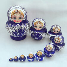 10Pcs Wood Russian Matryoshka Nesting Dolls Blue Hand Paint Gift Decor Healthy