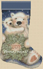 Cross stitch chart  Christmas Stocking Polar Bear FlowerPower37-UK..