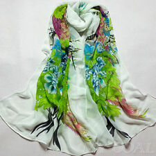 C White - Flower Silk Chiffon Neck Scarf Wrap Shawl Stole Wrap Women