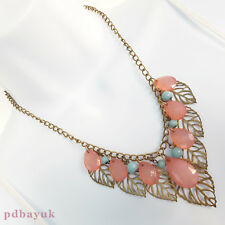 "Vintage Style Pink Teardrop Bead Antique Gold Tone Leaf Necklace 46cm 18"" ~1679"