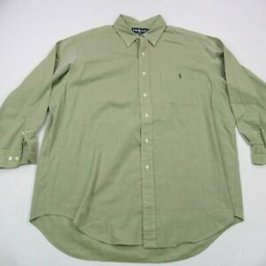 Ralph Lauren Yarmouth Shirt Long Sleeve Men's 17 32/33 Green Solid Button Down