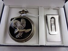 New Men's Japan Movement Eagle Pocket Watch & Money Clip w/Box- Not tested