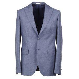 Boglioli Blue Melange Silk and Linen Sport Coat with Peak Lapels 40R (Eu 50)