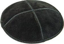 "Small Little Genuine Leather Black Kippah Yarmulke Jewish Judaism 16 Cm 6.3"""
