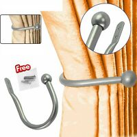 Silver Large Stylish Curtain Hold Back Metal Tie Arm Hook Loop Holder U Shaped