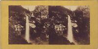 Grande Cascade A Identificare Paesaggio Montagne Stereo Vintage Albumina Ca 1860