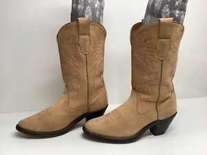 VTG WOMENS UNBRANDED COWBOY SUEDE IVORY BOOTS SIZE 7.5 M