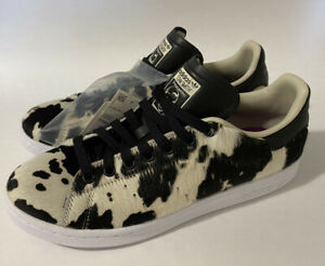 NEW Adidas Originals Stan Smith Shoes Sneakers Cow Print Black White Womens 8