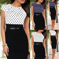 KE_ Elegant Women Business Office Work Party Belt Bodycon Sheath Pencil Dress
