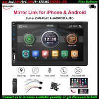 7''2 Din Autoradio Siri Android Auto+Caméra TF BT iOS Lien Miroir FM MP5