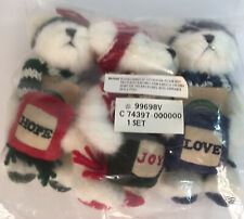 Boyds Bears Christmas Plush Teddy Hope Joy Love Ornaments New Sealed Set 3
