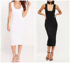 MISSGUIDED jersey square bust midi dress black or white (M25/10)