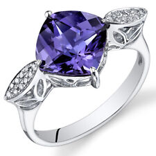 14 Kt White Gold 4 cts Alexandrite and Diamond Ring R61670
