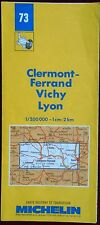 MICHELIN FRANCE 1989 COLOURED PAPER MAP of CLERMONT-FERRAND/VICHY No 73 1:200000