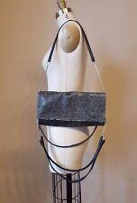 Maison Martin Margiela black embossed small shoulder bag w/ four leather straps