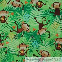 BonEful FABRIC FQ Cotton Quilt Green Palm Leaf Brown Monkey Baby Boy Animal Zoo