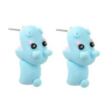 3D Dangle Animal Cartoon Girl Ear Stud Hippo Polymer Clay Earrings Cute