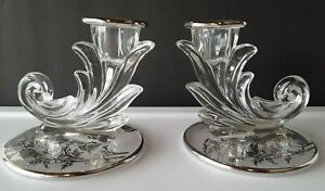 Pair of Fostoria Baroque Crystal Candlesticks with Silver Overlay