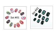 Halloween False Nails - Children's/Kids Full Cover 6+ Skulls Witches Ghosts 12pc