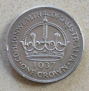 1937 Australian Crown, 92.5 % Silver.  NO RESERVE !!