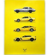 YELLOW C7 CORVETTE Z06 OWNERS GENERATIONS POSTER