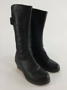 Crocs A-Leigh Black Leather Boots Wedge Heel Mid Calf Side Zip Size 7