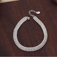Platinum Plated Silver Elegant Brilliant Bangle Bracelet with Swarovski Cystals