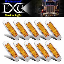 10x Amber Thin Side Marker Light Clearance 12 LED Lamp Chrome Freightliner Truck
