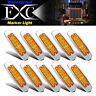 10x Amber Thin Side Marker Light Clearance 12 LED Lamp Chrome Freightliner Truck
